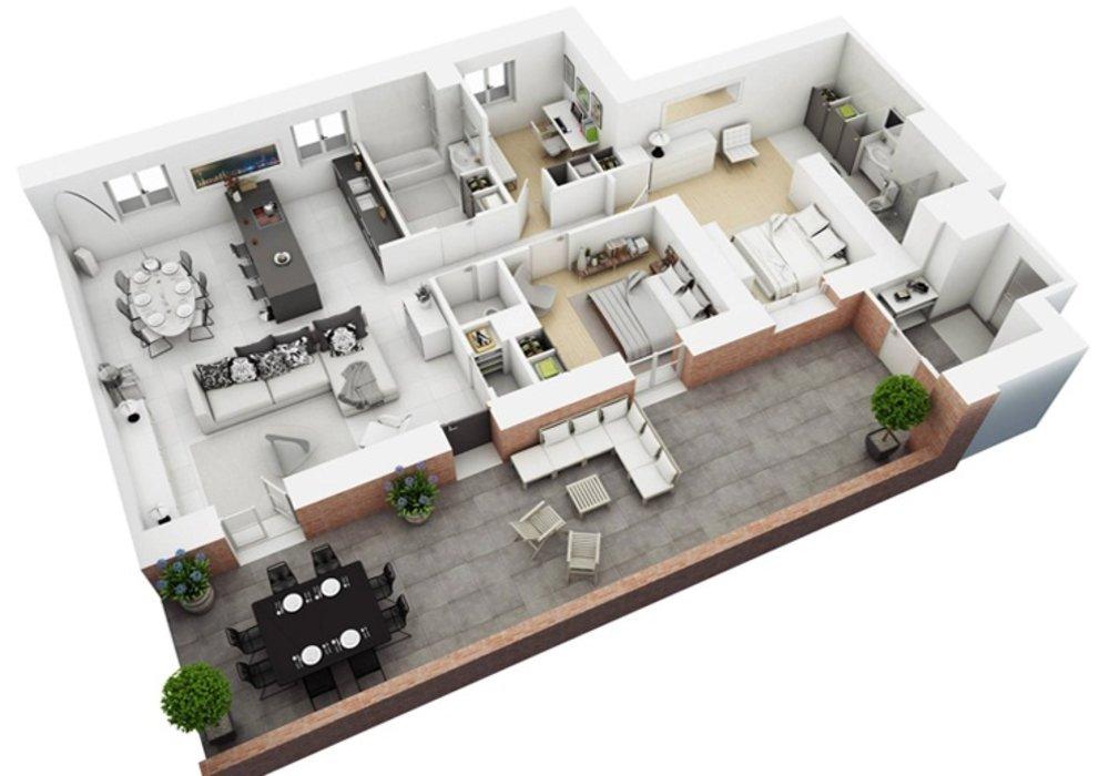 Mô hình 3D thiết kế nội thất căn hộ chung cư 100m2 3 phòng ngủ NT16601 - Phần 1
