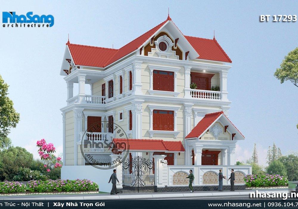 Biệt thự Pháp 3 tầng nhẹ nhàng mái thái tân cổ điển BT17293