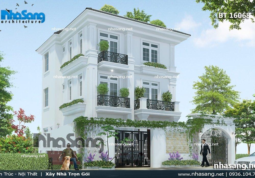 Nhà 3 tầng mái bằng đơn giản, kiên cố BT16068