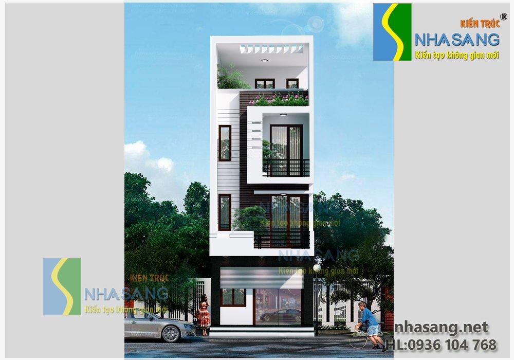 Thiết kế Nhà ống 3,5 tầng 5,4m x 12,4m BT14077 | kiến trúc mẫu nhà biệt thự phố kiểu pháp