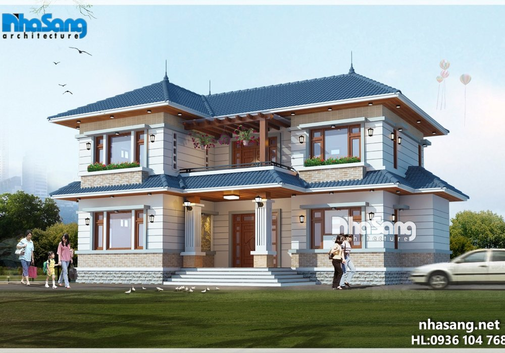 Nhà vườn đẹp 2 tầng chữ L mặt tiền 15m x 10m mái thái BT16005