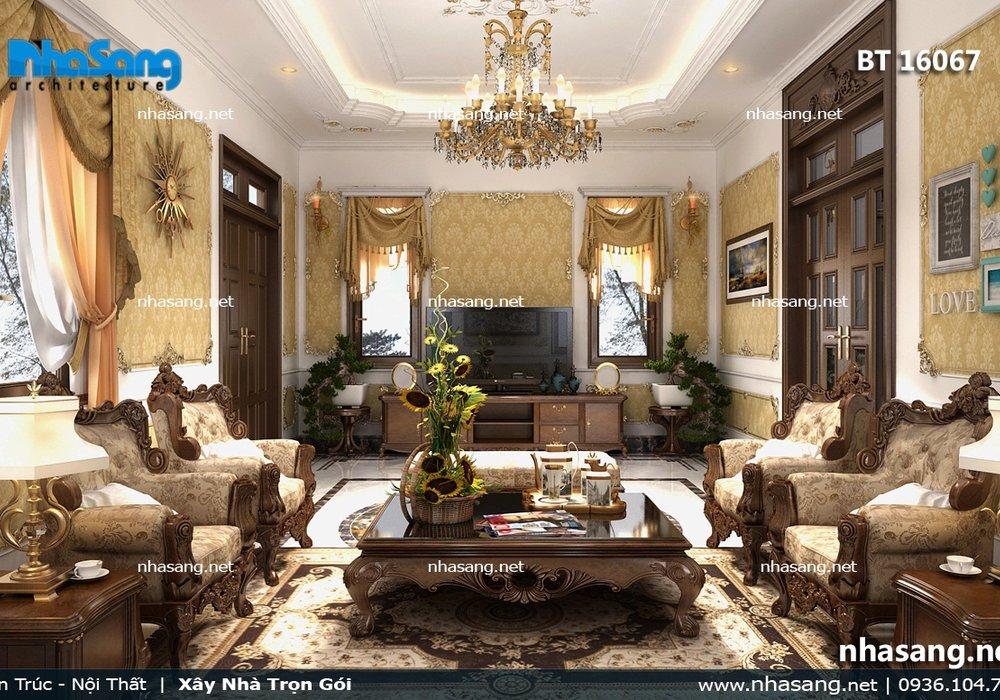 Thiết kế nội thất biệt thự gỗ tự nhiên NT16067