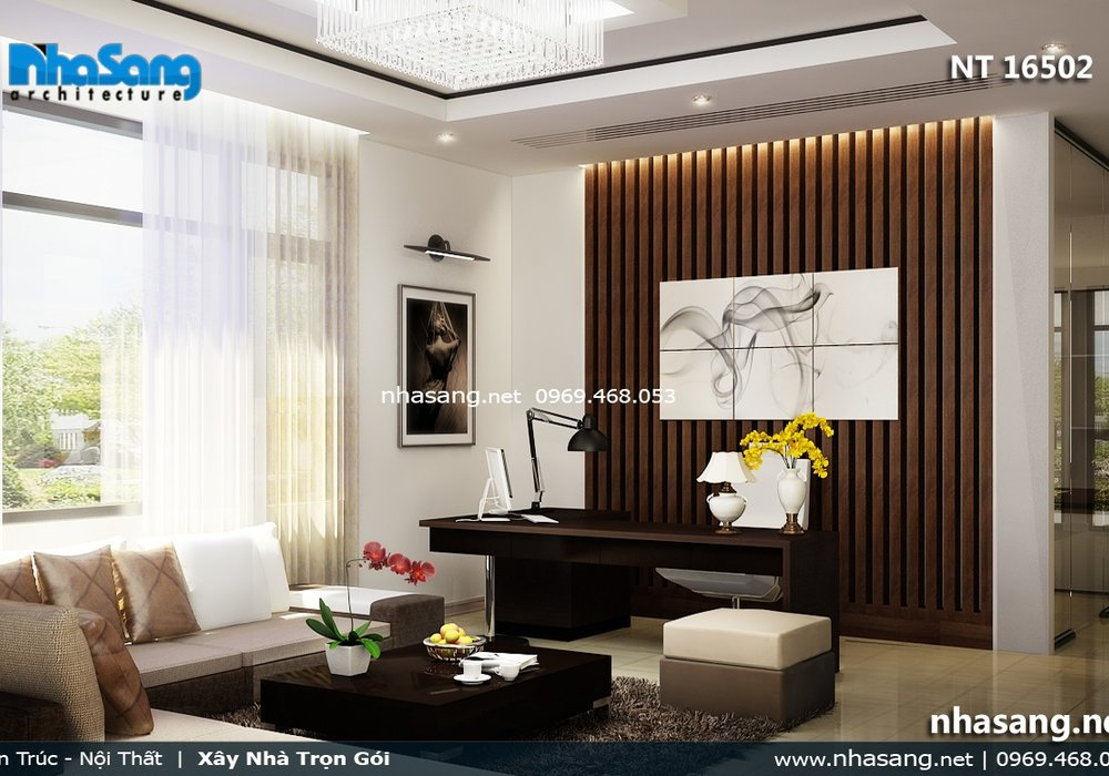 Nội thất phòng khách nhỏ hẹp bằng gỗ tự nhiên NT16052