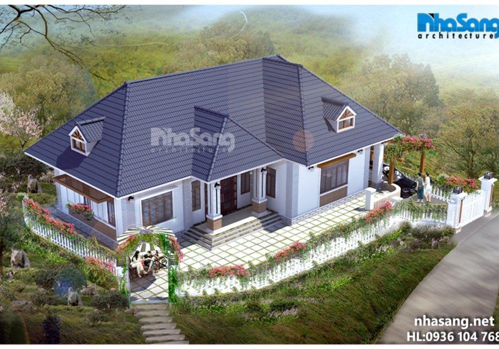 Nhà đẹp 1 tầng biệt thự vườn hoa hồng leo BT15004