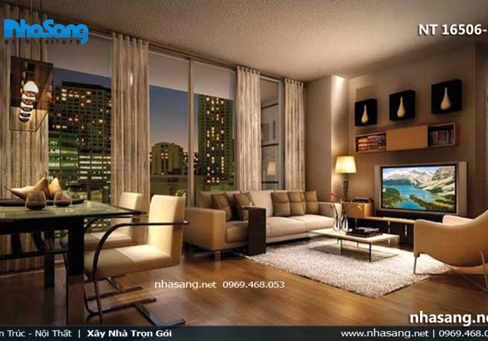 Phòng khách chung cư đẹp - BST 10 Mẫu mẫu thiết kế phòng khách chung cư hiện đại NT16506