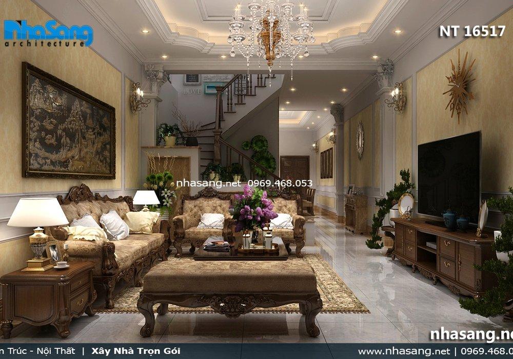Ấn tượng với gam màu trầm của Sofa gỗ óc chó cho nội thất phòng khách nhà ống 5m NT16517
