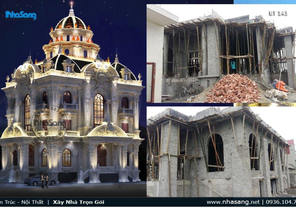 Khởi công xây dựng biệt thự lâu đài 2 tầng đẹp tại Ý Yên - Nam Định BT143