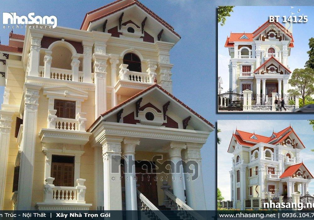 Ảnh thực tế thi công hoàn thiện biệt thự Pháp 3 tầng tân cổ điển BT14125