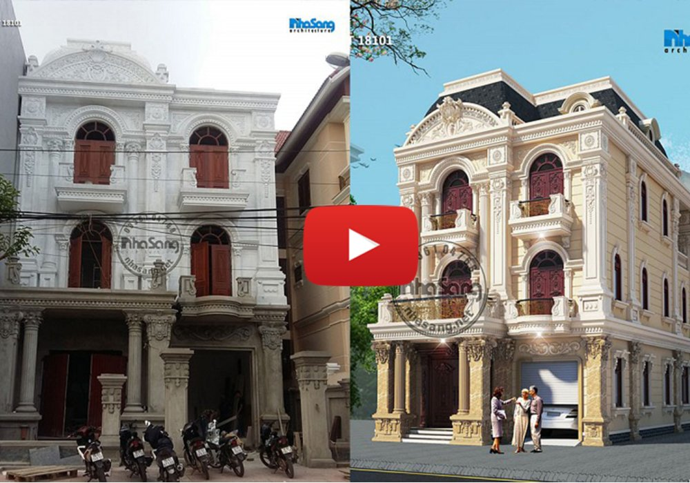 Thi công hoàn thiện biệt thự tân cổ mặt tiền 8.7m tại Lạng Sơn BT18101