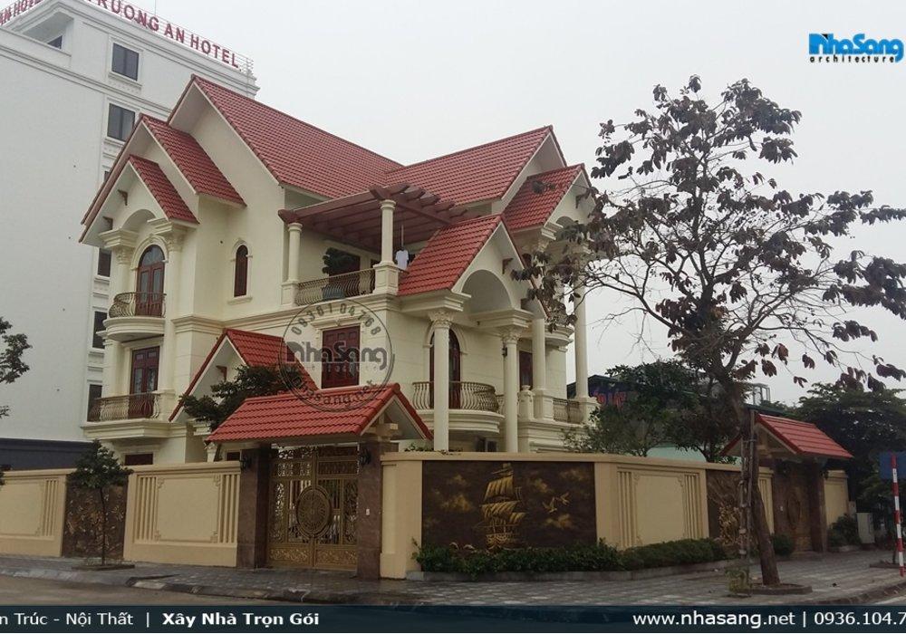 Thực tế thi công hoàn thiện nhà kiểu Pháp sang trọng 3 tầng tại Ninh Bình