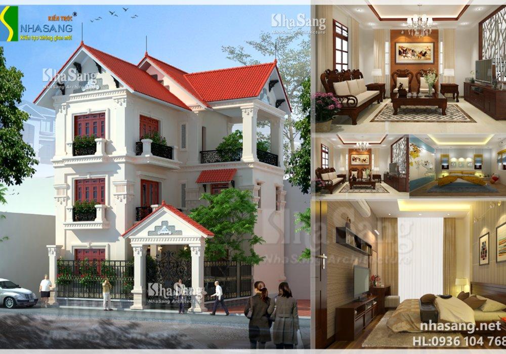 Mẫu Nhà biệt thự Tân cổ điển 3 tầng đẹp BT14116 - kiến trúc phố