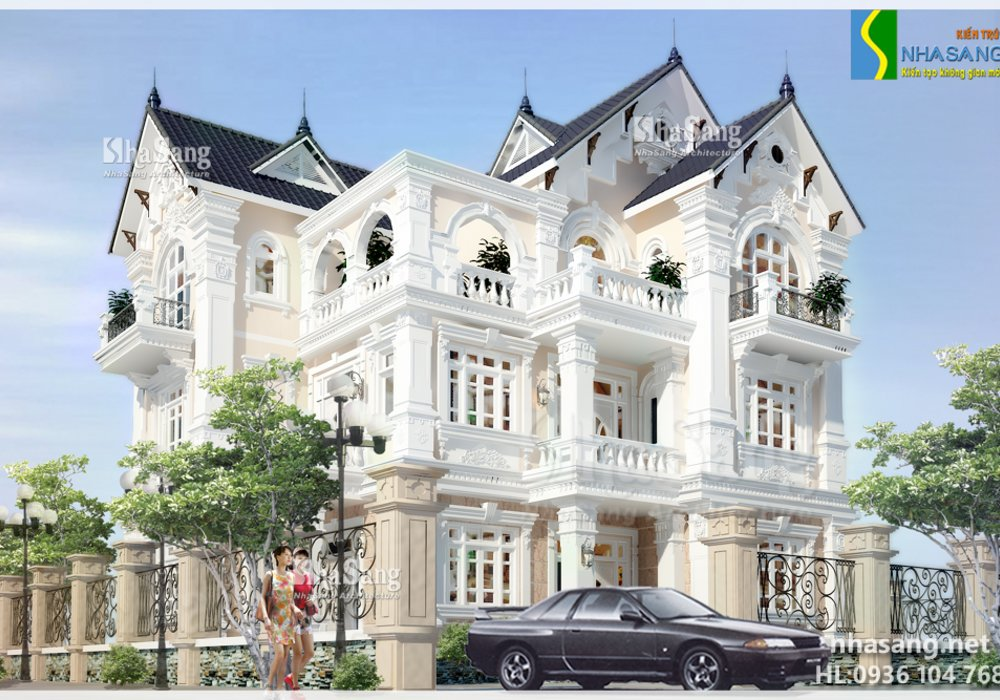 Thiết kế nhà Biệt thự kiểu Pháp 3 tầng  BT14151 - mẫu nhà đẹp