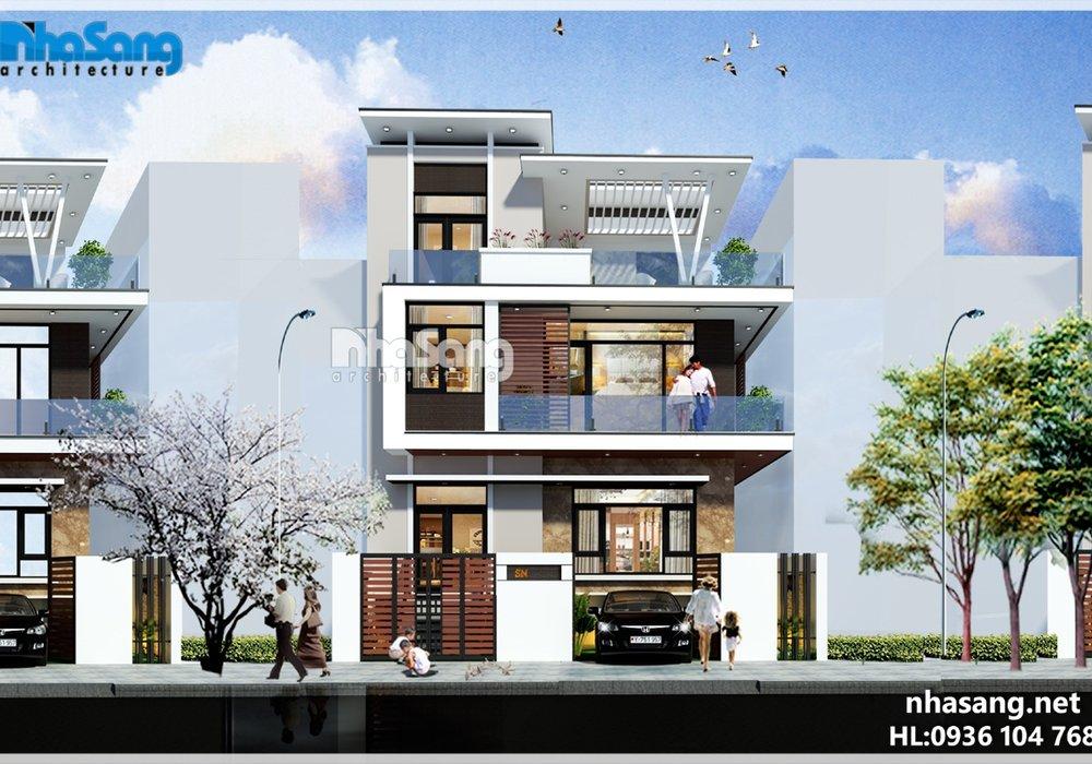 Thiết kế biệt thự hiện đại 3 tầng và bán hầm phá cách BT16022