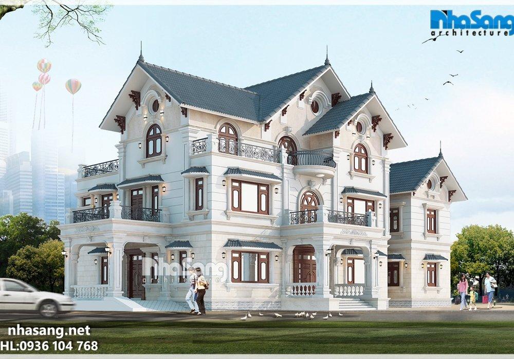 Thiết kế dinh thự 6 tỷ kiến trúc Châu Âu BT15019