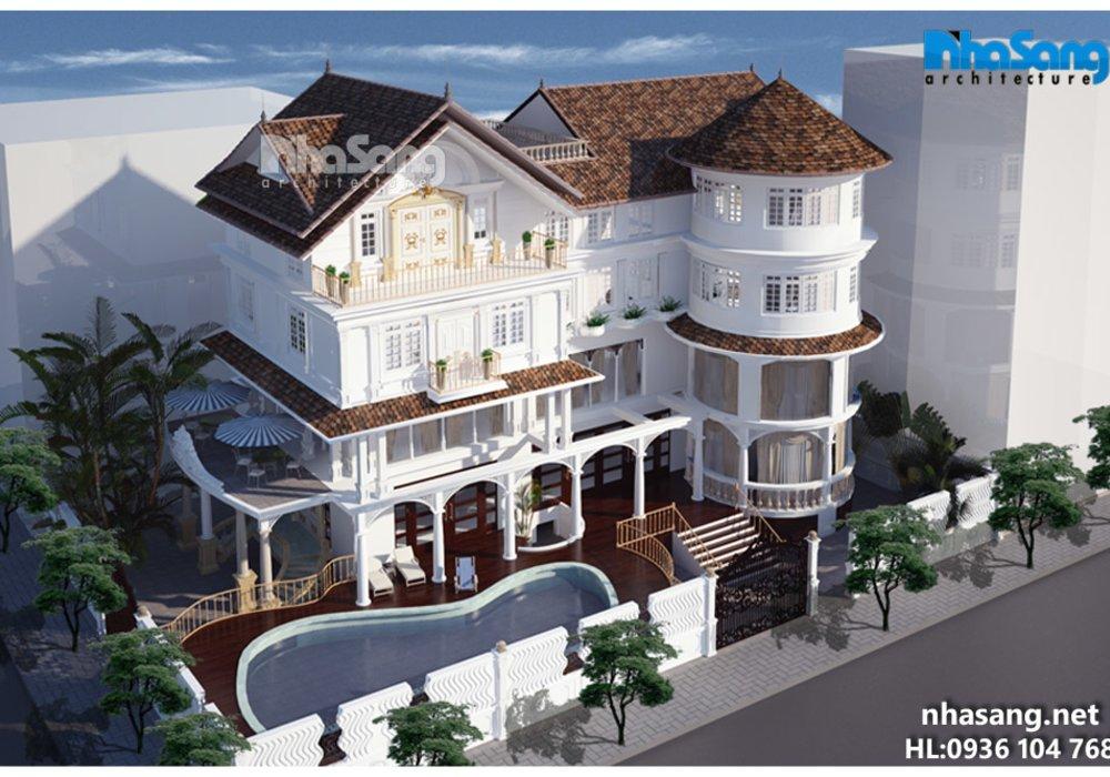Thiết kế dinh thự Châu Âu hiện đại BT15162