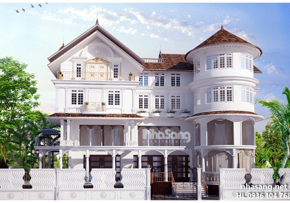 Thiết kế nhà biệt thự dinh thự kiến trúc kiểu Pháp BT14162 - kiến trúc nhà đẹp