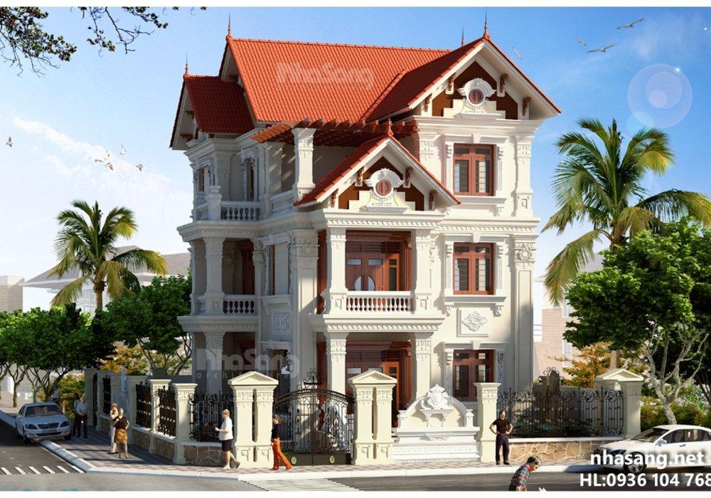 Thiết kế nhà đẹp: kiến trúc Pháp 3 tầng BT14179 mẫu nhà đẹp mặt tiền 11m x 14m
