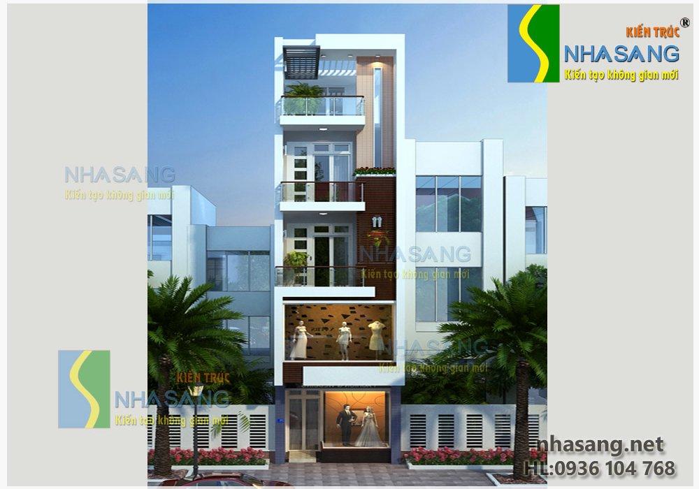 Mẫu thiết kế nhà phố - Nhà ống đẹp 4,5 tầng 4mx17m NO14080 - mẫu biệt thự 2-3 tầng