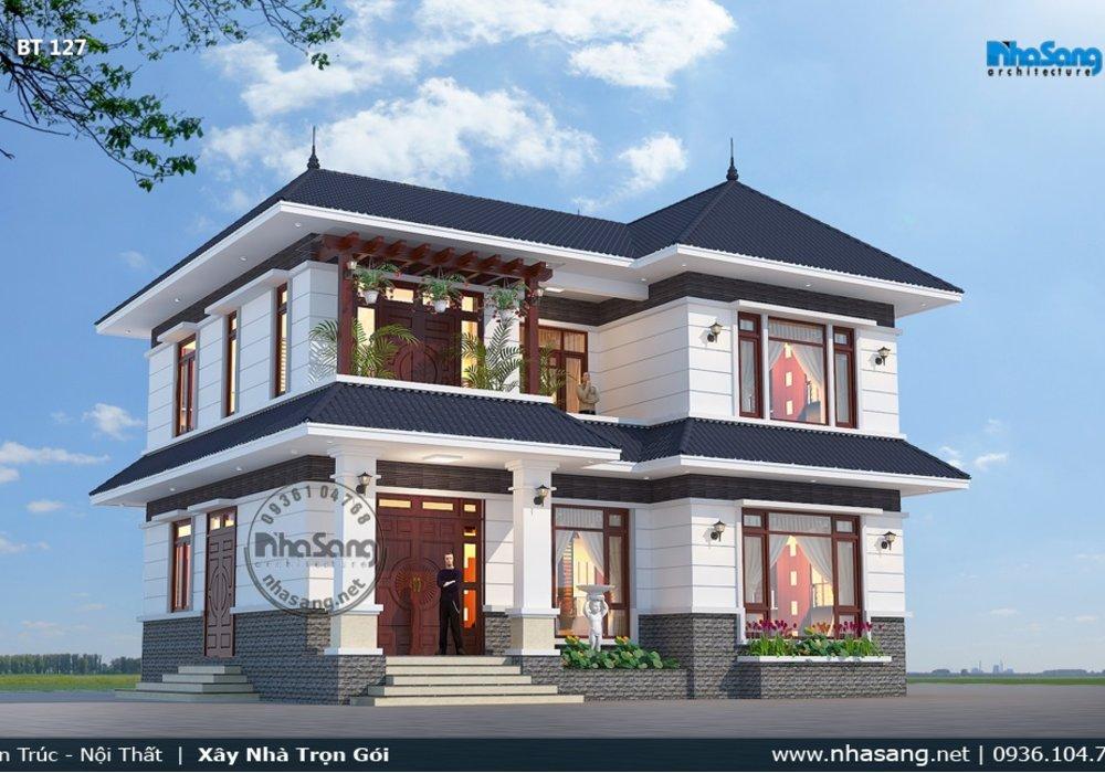 Thiết kế nhà vườn nông thôn phòng thờ tầng 1 BT127