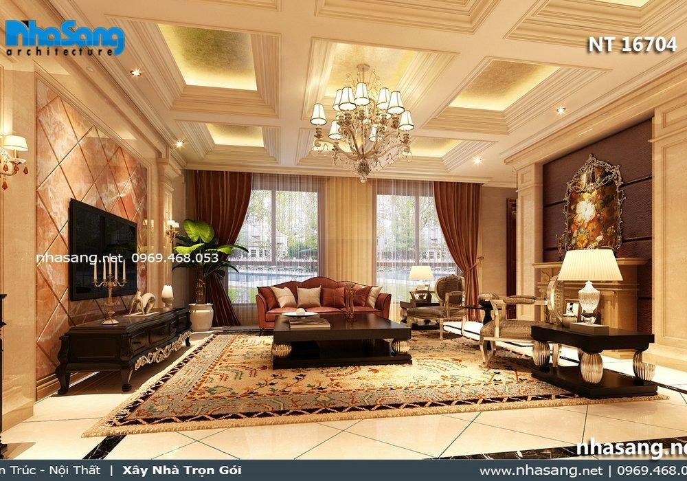 Thiết kế nội thất tân cổ điển biệt thự Quảng Ninh NT16704