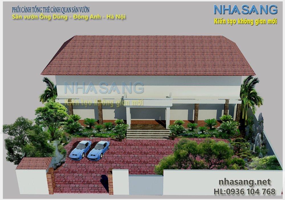 Thiết kế sân vườn với non bộ và hồ nước  NV14104