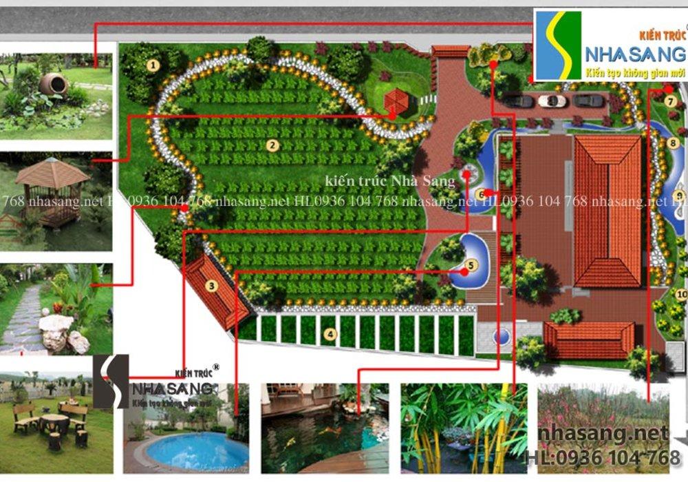 Thiết kế sân vườn cho không gian Nhà vườn truyền thống NV14108