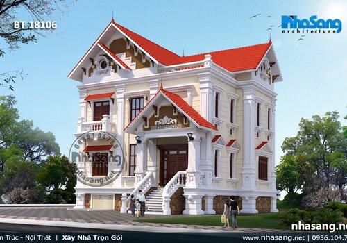 Mẫu thiết kế biệt thự cao cấp 2 tầng mặt tiền 10m tại Bắc Giang BT18106
