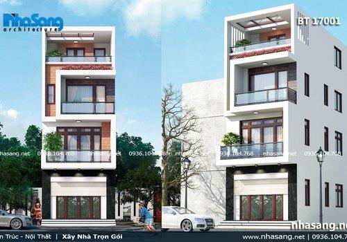 Mẫu nhà biệt thự phố 4 tầng hiện đại mặt tiền 5m BT17001