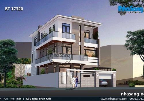 Mẫu thiết kế biệt thự phố hiện đại 3 tầng BT17320