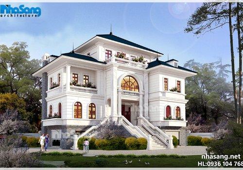Thiết kế dinh thự Châu Âu trên mảnh đất 1300m2 BT16021
