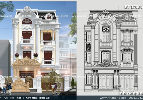 Biệt thự 4 tầng tân cổ điển Pháp quý phái BT17004