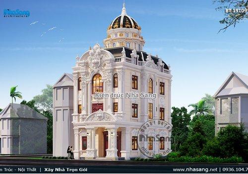 Mẫu biệt thự cổ điển Pháp 3 tầng mái vòm đẹp tại Phủ Lý BT19109