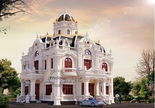 Biệt thự lâu đài 180m2 1 trệt 1 lầu 1 tum BT121 | 100+ Mẫu thiết kế lâu đài đẹp
