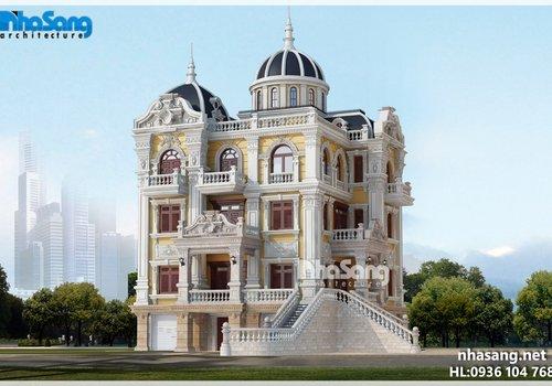 Thiết kế biệt thự lâu đài 5 tầng BT15015