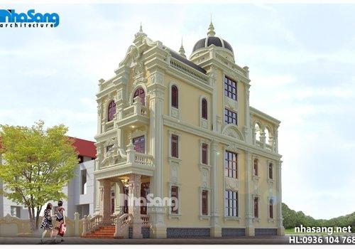 Thiết kế biệt thự lâu đài mini mặt tiền 7.6m BT15008