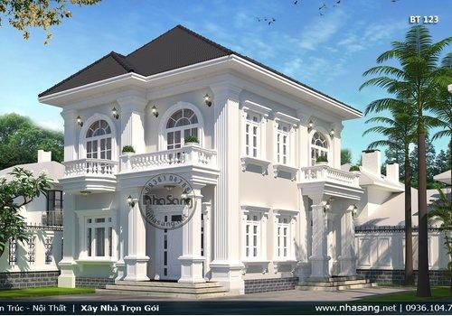 Mẫu thiết kế nhà vườn mini 2 tầng 90m2 chuẩn tỉ lệ BT123
