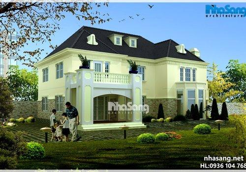 Biệt thự nhà vườn 2 tầng mặt tiền 12m BT15132
