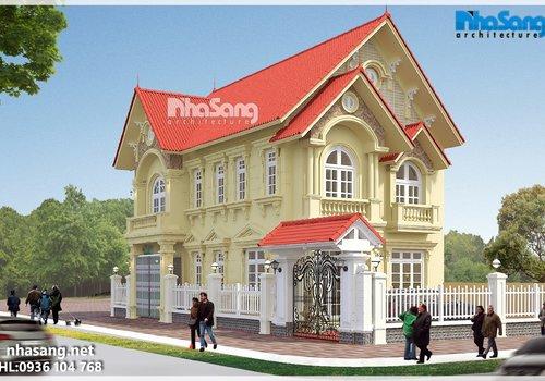 Biệt thự nhà vườn tân cổ điển 2 tầng mặt tiền 8m BT16025