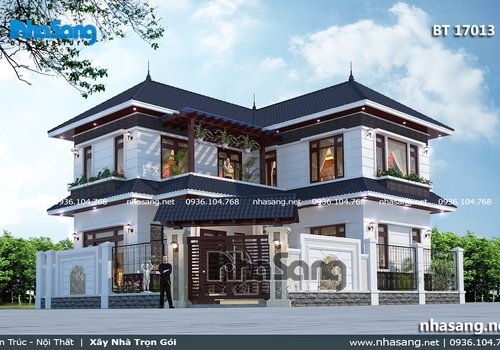 Mẫu nhà vườn chữ L đẹp tại Vĩnh Phúc BT17013
