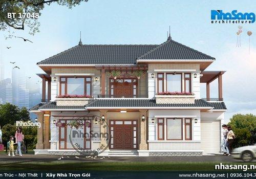 Thiết kế nhà vườn chữ L mái thái kiểu Châu Âu BT17048