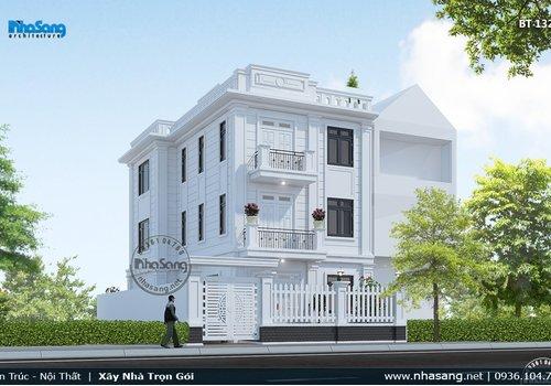 Thiết kế biệt thự Pháp hiện đại mặt tiền 8m BT132