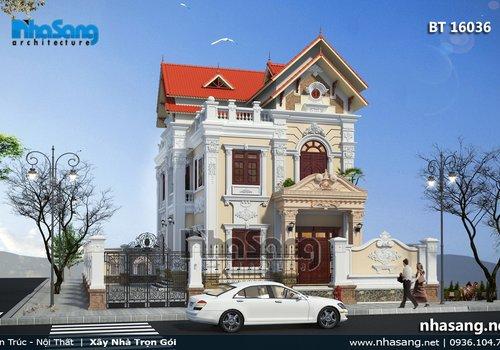 Mẫu nhà biệt thự Pháp 2 tầng 2 mặt tiền BT16036