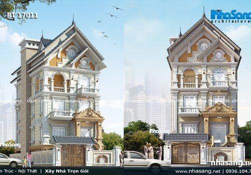 Biệt thự đẹp mặt tiền 10m kiểu Pháp tân cổ điển BT17011