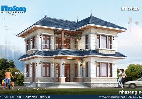 Nhà vườn 2 tầng mái thái chữ L 80m2 BT17028