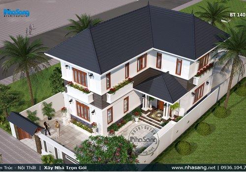 Thiết kế biệt thự vườn mái thái 2 tầng cho đất 12m BT140