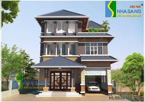 Thiết kế nhà biệt thự 3 tầng kiểu pháp 9m x 12m BT14078 - Thiết kế biệt thự phố đẹp