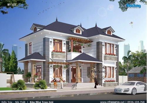 Mẫu thiết kế nhà vườn 120m2 chữ l 2 tầng mặt tiền 14x10m 4 phòng ngủ BT122