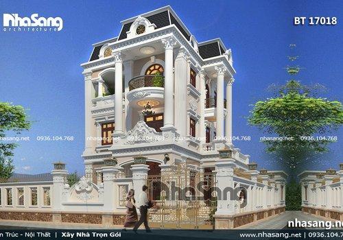 Mẫu biệt thự tân cổ điển đẹp 3 tầng BT17018