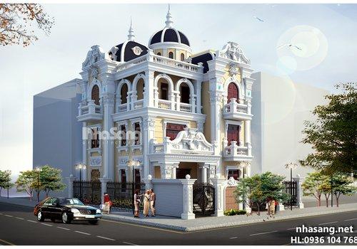 Mẫu thiết kế nhà biệt thự  phố kiểu Pháp 3,5 tầng đẹp BT14152