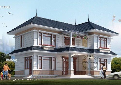Mẫu nhà 2 tầng nông thôn 4 phòng ngủ với tầng 1 thoáng rộng BT18311